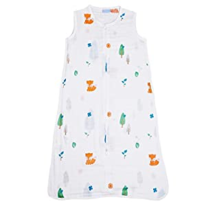 1st Laugh 100% Cotton Muslin Baby Sleeping Sack Bag, Forest L, for Boy and Girl