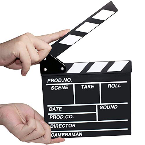 Director's Film Movie Clapper Chalkboard - Professional Vintage Clapper Slate Board - Cut, Action, TV, Movie Clapperboard - (12