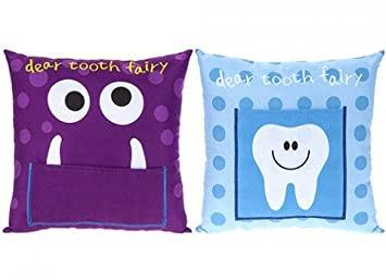 Pms Tooth Fairy Cushion 2 Assorted Designs Blue Or Purple 20x20cm