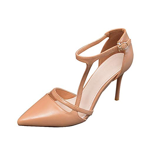 FLYRCX Zapatos de tacón Alto de tacón bajo Estilete de tacón Alto Zapatos de Temperamento Elegante Solo Zapatos, 39 UE 34 EU