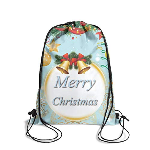 Christmas Bells Balls Holly Berry Fir Tree Branches Drawstring Bags Gym Backpack Yoga Rucksack Traveling Sackpack ()