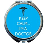 Rikki Knight Keep Calm I'm a Doctor Sky Blue Color Design Round Compact Mirror