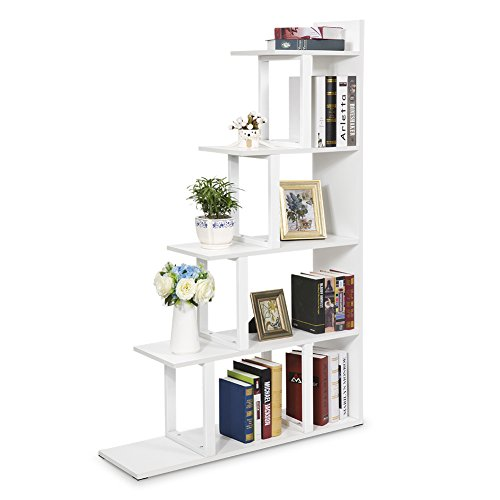 Tribesigns 5-Shelf Ladder Corner Bookshelf, Modern Simplism Style 67 '' H x 14.2'' W x 7.5''L, Made of Steel and Wood, for Living Room or Hallway (White) by Tribesigns (Image #8)