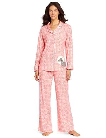 Hue Sleepwear Women's Knit Notched Dachie Set, Sugar Coral, Large
