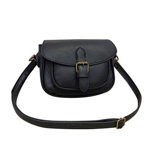 Women Crossbody Bag, Fashion Women Leather Shoulder Bag Messenger Satchel Tote Handbag (Brown) Black