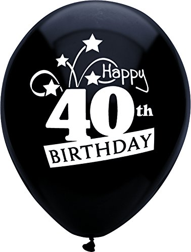ted Latex Balloons, 8 CT, 40th BDAY SHOOTING STARS (Hill Latex Balloons)