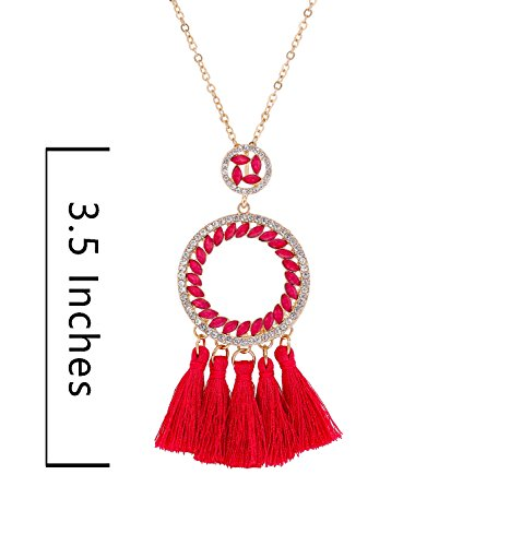 PHALIN JEWELRY Long Chain Necklace Crystal Circle Pendant Necklaces Delicate Bohemia Tassel Necklace for Women Girls by PHALIN JEWELRY (Image #6)