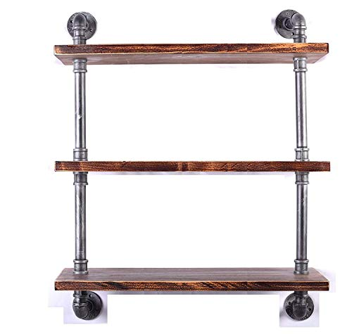 Diwhy Industrial Pipe Shelving Bookshelf Rustic Modern Wood Ladder Storage Shelf 3 Tiers Retro Wall Mount Pipe Dia 32mm Design DIY Shelving (Silver, L 36