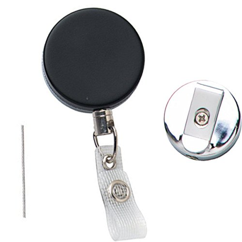 - Bulk 25 Pack - Heavy Duty All Metal Retractable Badge Reel with Steel Cable by Specialist ID (Black/Silver)