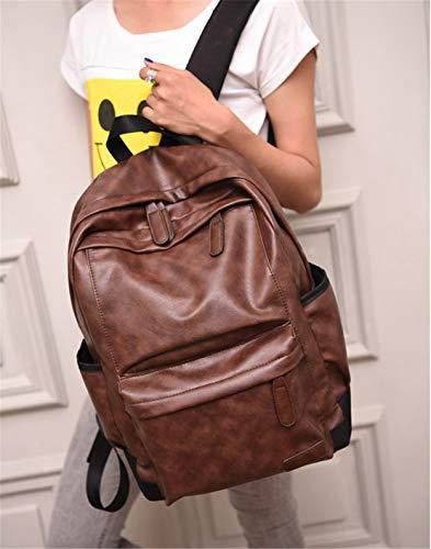Cuero Laptop Universitarias Viajes Simple Fashion Diario 6 Mochila Sólido Adolescentes Color 15 Viaje Escolares Marrón Mochilas Gran Antirrobo Capacidad Bolsos Pulgadas Moodn q8CxOUE