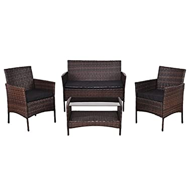 4 PCS Patio Rattan Wicker Sofa Set With Black Cushions Chair Tempered Glass Coffee Tea Table Storage Shelf Loveseat Double Sofa Outdoor Garden Deck Backyard Yard Porches Poolside Pool Side Furniture