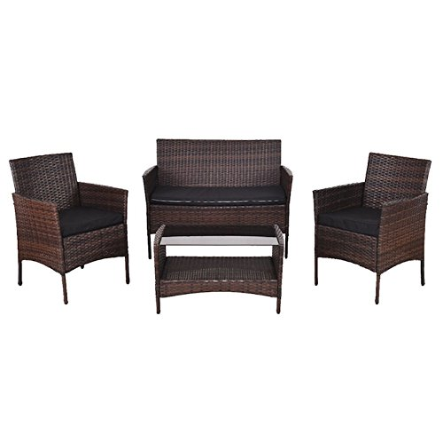 4 PCS Patio Rattan Wicker Sofa Set With Black Cushions Chair Tempered Glass Coffee Tea Table Storage Shelf Loveseat Double Sofa Outdoor Garden Deck Backyard Yard Porches Poolside Pool Side Furniture (Paul Frankl Rattan)