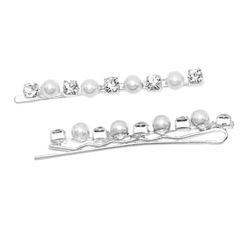 Rosemarie Collections Women's Faux Pearl and Glass Crystal Hair Clip Bobby - Glasses Crystal Macy's