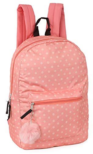 Girls Fashion Backpack With Reinforced Vinyl Bottom and Bonus PomPom Keychain