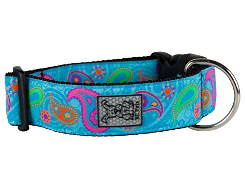 Adjustable Dog Clip Collar - RC Pet Products 1 1/2 Inch Wide Adjustable Dog Clip Collar, Large, Tropical Paisley