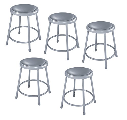 "National Public Seating 6418-CN Steel Stool with 18"" Vinyl Upholstered Seat, Grey (Pack of 5)"