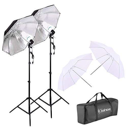 Kshioe Photo Studio Lighting Kit White Soft Light Silver Black Umbrella Bulb Photography Set