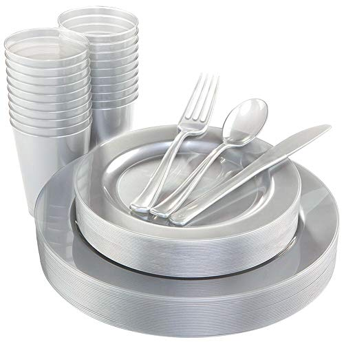 WDF 25 Guest Silver Plates with Disposable Plastic Silverware&Silver Cups-Neon Plastic Dinnerware include 25 Dinner Plates,25Salad Plates,25Forks, 25 Knives, 25 Spoons,25 Plastic Cups -