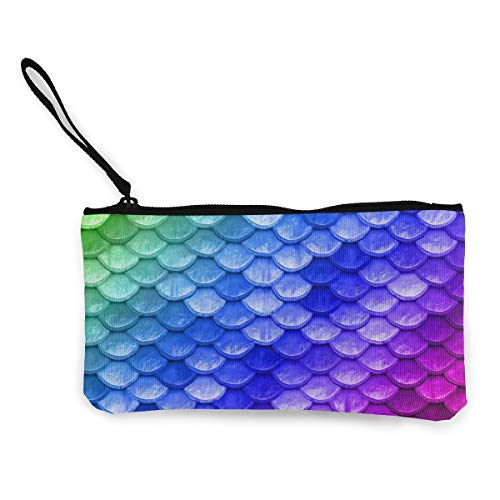 NOWDIDA Colorful Rainbow Mermaid Scales Blue Cute Canvas Smartphone Wristlets Cash Coin Purses Make Up Bag Cellphone Clutch Purse with Wrist Strap
