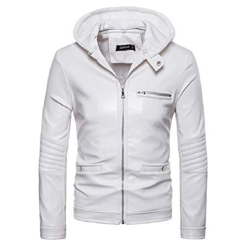 Vska Men's Motorcycle Hooded Zipper Coat Outwear Fake Two PU Jacket White S