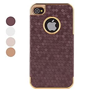 Hexagon Grid Style Case for iPhone 4 and 4S (Assorted Colors) --- COLOR:Coffee