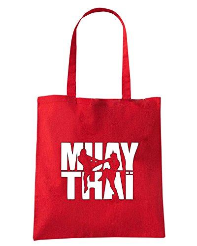 T-Shirtshock - Bolsa para la compra TBOXE0111 Muay thai logo Rojo