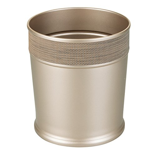 mDesign Decorative Round Small Trash Can Wastebasket, Garbage Container Bin for Bathrooms, Powder Rooms, Kitchens, Home Offices - Steel in Pearl Champagne Finish with Woven Textured Accent