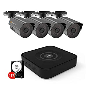 CCTV Security Camera System With 1TB Hard Drive, Jennov 8CH 1080P CCTV Home Surveillance DVR Kit System with 4pcs 2MP…
