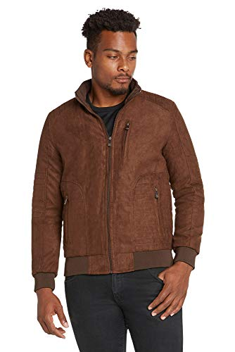 (9 Crowns Men's Faux-Suede Quilted Moto Modern Fit Jacket Coat-Brown-Medium)