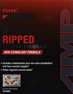GNC Pro Performance AMP Men's Ripped Vitapak Non-Stimulate, 30 Count