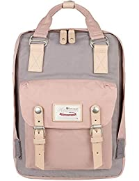 """School Waterproof Backpack 14.9"""" College Vintage Travel Bag for Women,14 inch Laptop for Student (pink&Gray)"""