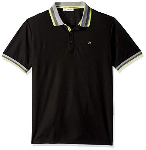 Calvin Klein Golf Men's Spark Polo, Black, S Black Mini Stripe Polo