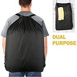Laundry Bag Backpack, Laundry Hamper with 2 Strong Adjustable Shoulder Straps