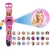 Samdivi Plastic Barbie Cartoon Character 24 Images Projector Girls Watch (Multicolour)
