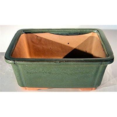 Green Ceramic Bonsai Pot - Rectangle 8.5 by 6.625 by 3.5 OD : Garden & Outdoor