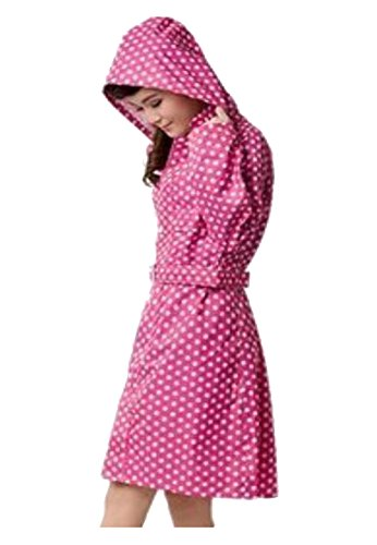 Zicac Women's Polka Dots Raincoat Belted Rain Jacket (One size, Magenta)