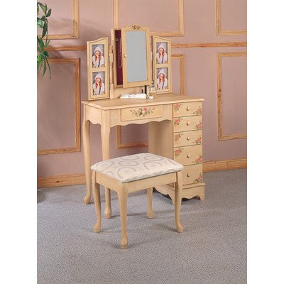 Hand Painted Vanity & Bench Set - Hand Painted Vanity Set