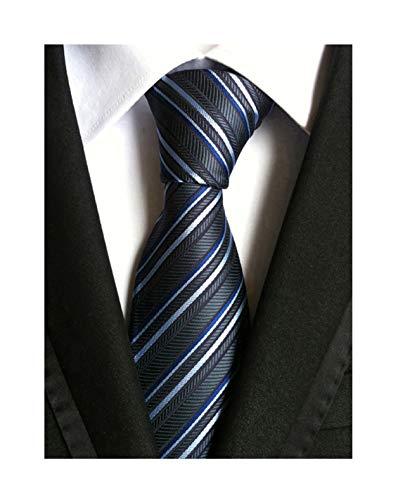 Check Woven Silk Tie - Secdtie Men Classic Checks Grey Blue White Jacquard Woven Silk Tie Necktie TW018