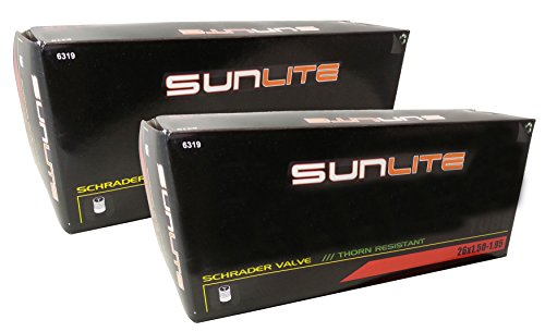 2 PACK - Sunlite Thorn Resistant Bicycle Tube 26 x 1.50-1.95 SCHRADER Valve - Save more than $2.00 with this Value Pack!