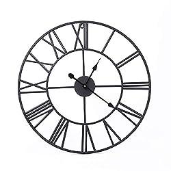 GUJIAO 31.5 inch Black Round European-Style Roman Decorative Clocks Living Room Oversized Silent Wrought-Iron Vintage Wall Clocks