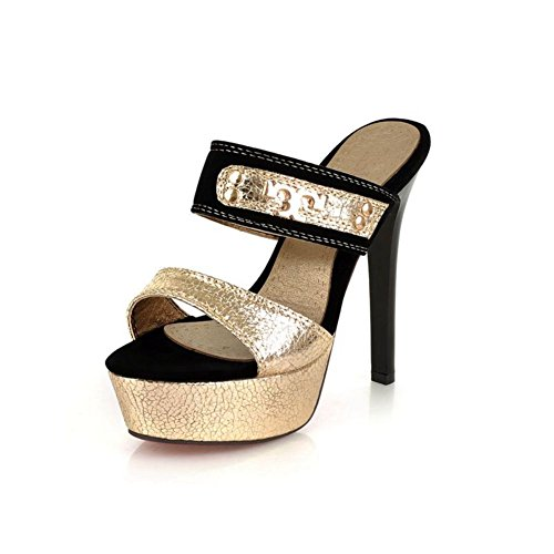 zapatillas de tacones ultra metálico/Zapatos de tacón plataforma sexy/ peces cabeza zapatillas A