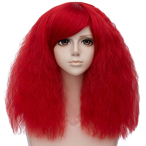Short Fluffy Curly Bob Wigs Red Cosplay Wigs