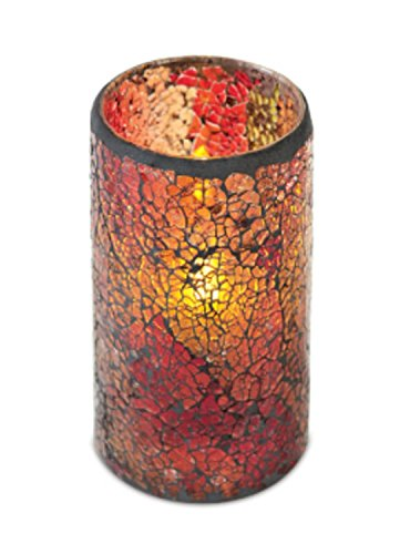 6 Red/Gold/Orange Flameless Wax Pillar Candles in Glass Mosiac Holders 3'' x 6'' by CC Christmas Decor
