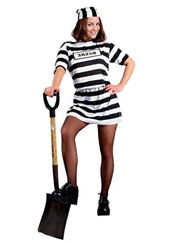 Morris Costumes Womens Stripped Convict Prisoner Black And White Adults Costume, One Size (Convict Lady Plus Size Costume)