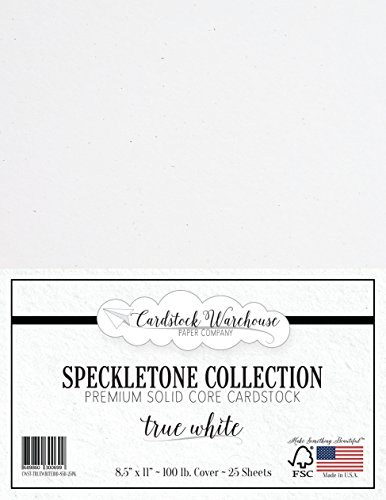 True White SPECKLETONE Recycled Cardstock Paper - 8.5 x 11 inch - Premium 100 LB. Cover - 25 Sheets