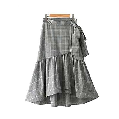 Women Ruffled Plaid Wrap Skirt Bow Tie Belt Faldas Mujer Houndstooth Ladies Casual Fashion Irregular A Line Skirts BSQ642