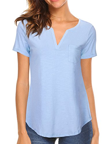 Vafoly Shirts For Women Summer, Juniors Casual Short Sleeve Split V Neck Tee Shirts Loose Casual Short Sleeve Blouse Jersey Yoga Tops Blue (Loose Fitting Pullover)