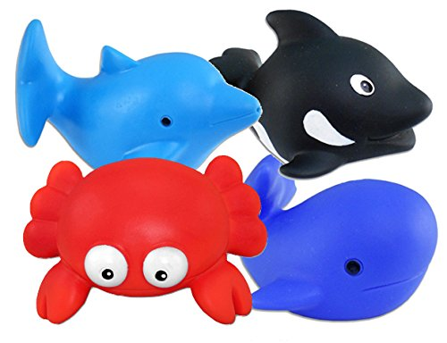 Bath Buddy Ocean Squirters-Set of 4! Killer Whale, Red Crab, Dolphin, Blue Whale/BATHTIME/Prizes or Party Favors