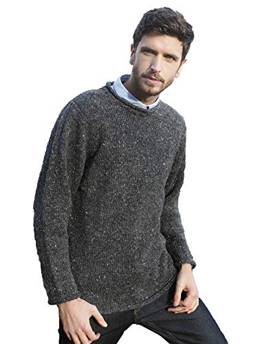 - Aran Crafts Donegal Wool Curl Neck Sweater MED Charcoal (K4594-MED-CHAR)