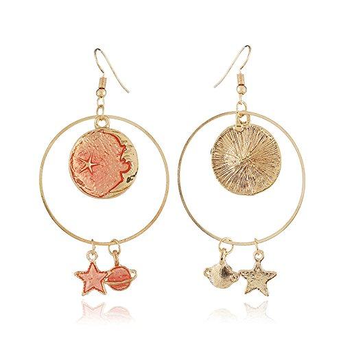 choice of all Asymmetrical Star Moon Long Earrings Planet Earrings for Girls